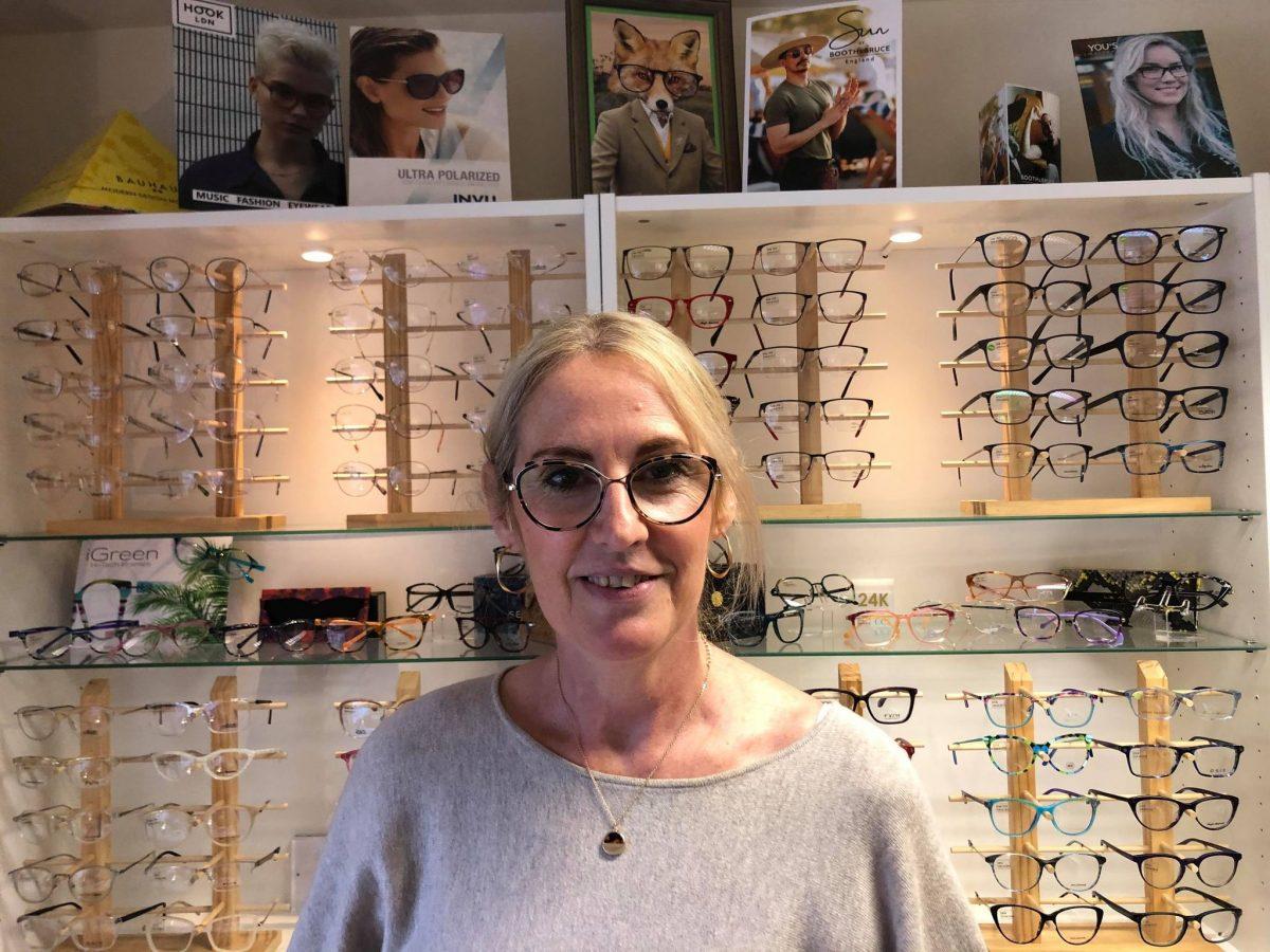 Dispensing Optician Charlotte Cassidy wearing William Morris